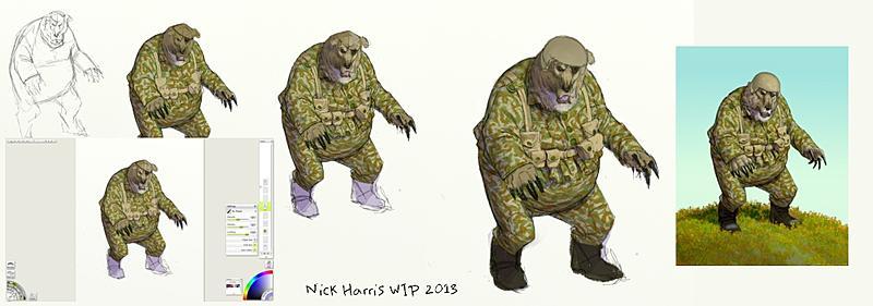 Click image for larger version.  Name:Camo-Bear Progression sheet - ArtRage 4 - Nick Harris 2013.jpg Views:110 Size:115.2 KB ID:76634