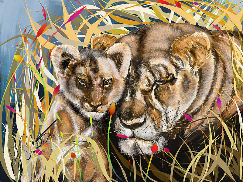 Click image for larger version.  Name:Lioness and cub.jpg Views:47 Size:521.4 KB ID:88443